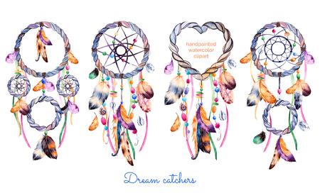 Dibujado a mano ilustración de 4 dreamcatchers.Ethnic con americana ilustración indios acuarela estilo nativo dreamcatcher.Boho. Parfect para el día de San Valentín feliz, impresión, diyprojects, imprimir tarjetas de felicitación Foto de archivo - 52383200
