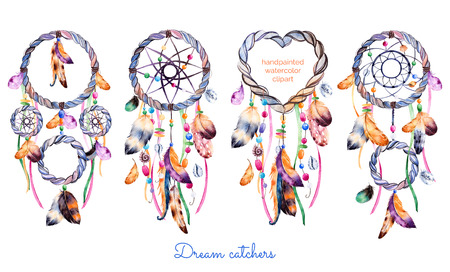 Hand getrokken illustratie van 4 dreamcatchers.Ethnic met inheemse Amerikaanse Indianen watercolourillustratie dreamcatcher.Boho stijl. Parfect voor Happy Valentines Day, print, diyprojects, print, wenskaart