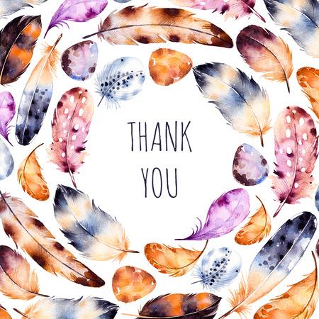 Aquarell Federn set.Hand gezeichnete Illustration mit bunten Federn und eggs.Pattern mit Platz für Ihren text.Feather auf weißem Hintergrund. Perfekt für den Druck, Grußkarte, dank Karte