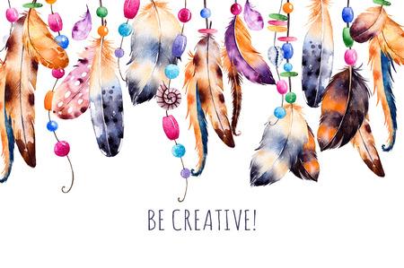 Schöne Vorlage mit Bändern card.Handpainted illustration.Watercolor Federn, Muscheln, Perlen, Perlenketten und Dekorationen auf weißem ang background.Be creative.Perfect für Print, Blogs und mehr