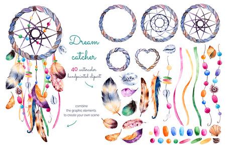Aquarel hand beschilderde collectie met 40 elementen: veren, linten, schelpen, kralen, parelsnoeren en decoraties 1 --andere dromenvanger pre-gemaakt voor uw eigen dreamcatcher use.Create Hand getrokken set! Stockfoto