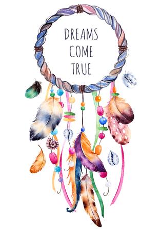 pluma: Dibujado a mano ilustración de dreamcatcher.Ethnic con la ilustración americana nativa india de la acuarela dreamcatcher.Boho style.Template card.Parfect para tarjetas de felicitación, impresión, proyectos de bricolaje, blogs.thanks de tarjetas