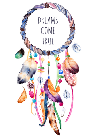 Hand drawn illustration of dreamcatcher.Ethnic with native American Indian watercolor illustration dreamcatcher.Boho style.Template card.Parfect for greeting cards, print, diy projects, blogs.thanks card