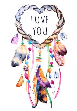 Hand getrokken illustratie van dreamcatcher.Ethnic met inheemse Amerikaanse Indianen watercolourillustratie dreamcatcher.Boho style.Template kaart. Parfect voor Happy Valentines Day, print, diy projecten, blogs