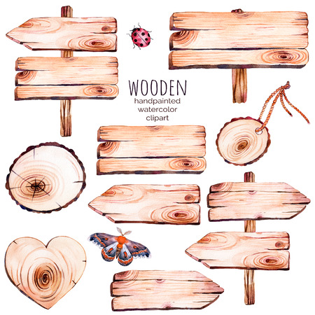 watercolor texture: This handpainted watercolor collection of nine wood slices clipart.Wood point, board, wooden heart, butterfly in watercolor.Can be used for frames, invitations, lettering, wedding, greeting cards and more. Stock Photo