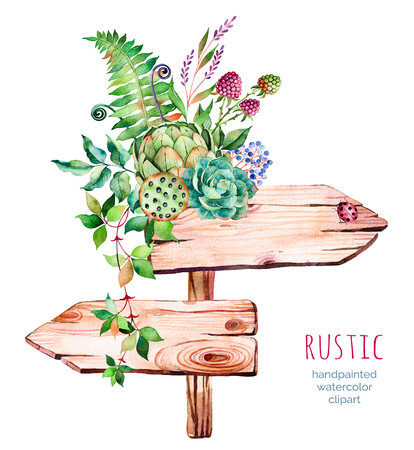 Watercolor wooden pointer.decorated with flowers, succulent plant, artichoke, raspberry, branches, feathers, fern, ladybug, Natural beauty.Rustic illustration.Perfect for blogs, lettering, pattern, invitation