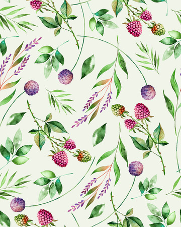 raspberries: Watercolor floral seamless pattern with flowers, raspberry, branches and foliage. Handpainted illustration. Can be used for texture, greeting card, wallpaper, poster, blogs and more Stock Photo