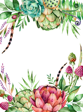 Beautiful watercolor card with space for text with Artichok, flowers, foliage, feather, raspberry.Handpainted illustration.Can be used as a greeting card, wedding invitation, gold lettering Any Other design