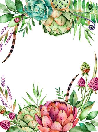Mooie aquarel kaart met ruimte voor tekst met artichok, bloemen, bladeren, veer, raspberry.Handpainted illustration.Can gebruikt worden als een wenskaart, bruiloft uitnodiging, gouden belettering een andere opzet
