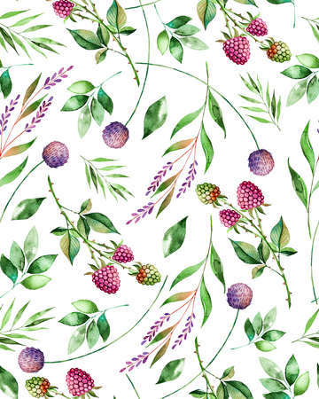 Watercolor floral seamless pattern with flowers, raspberry, branches and foliage. Handpainted illustration. Can be used for texture, greeting card, wallpaper, poster, blogs and more 스톡 콘텐츠