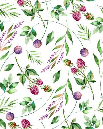 Watercolor bloemen naadloze patroon met bloemen, framboos, takken en bladeren. Handgeschilderd illustratie. Kan gebruikt worden voor textuur, wenskaart, behang, poster, blogs en nog veel meer