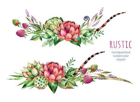 Colorful floral collection with artichoke, flowers, leaves, feathers, succulent plant, branches, raspberry, lotus and more.2 beautiful bouquet for your own design.Floral rustic collection.Perfect for wedding 写真素材