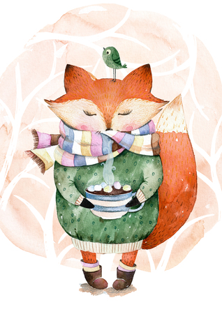 Cute little fox just like to drink hot coffee.Watercolor illustration.Fox and bird in watercolor.Perfect for cristmas and happy new year card, greeting card, website, pattern, tea time, invaitation, baby cards