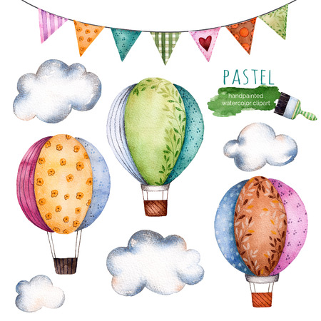 Watercolor collection with air balloons, bunting flags and clouds in pastel colours.Handpainted air balloons beautifully decorated on white background, clouds and pastel multicolored set flags.Watercolor
