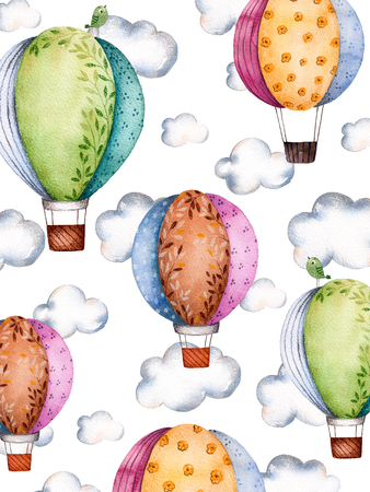 Watercolor pattern with air balloons and clouds in pastel colours.Handpainted air balloons beautifully decorated on white background with pastel cloud and little bird.Perfect for wallpaper, texture kids