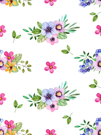 simple flower: Watercolor floral seamless pattern with multicolored flowers, leaves, floral berries.Colorful texture.Spring or summer illustration for invitation, wedding or greeting cards, can be used for wallpapers