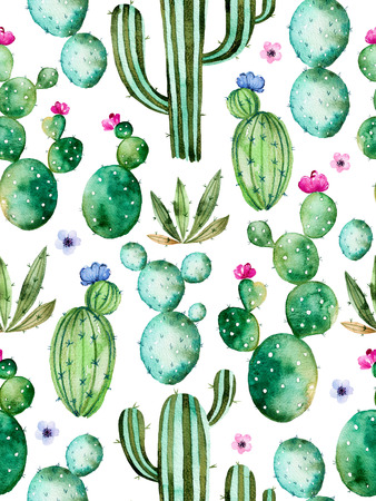 Seamless pattern with high quality hand painted watercolor cactus plants and purple colors flowers.Pastel, Perfect for your project, wedding, greeting card, photos, blogs, wallpaper, pattern, texture and more Archivio Fotografico