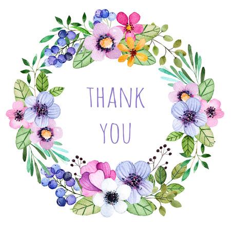 """Pastelkleuren krans met veelkleurige bloemen, bladeren, veren, bessen, takken en more.Pastel collection.Perfect voor huwelijk, frame, citaten, patroon, wenskaart en nog veel meer. """"Thank you"""" card template"""
