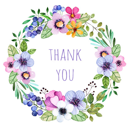 """Pastelowe kolory wieniec z kolorowych kwiatów, liści, piór, jagody, gałęzi i more.Pastel collection.Perfect do ślubu, ramki, cytaty, wzór, karty okolicznościowe i wiele innych. """"Dziękuję"""" wzoru karty"""