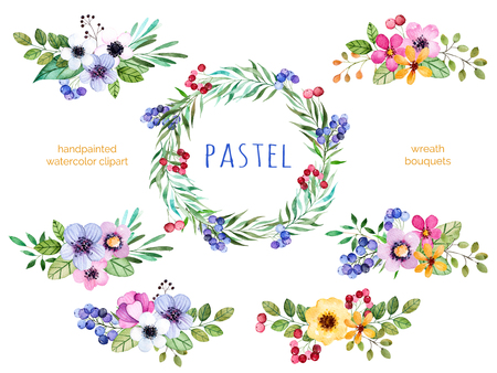Colorful floral collection with multicolored flowers, leaves, branches, berries and more.6 beautiful bouquets and 1 wreath for your own design.Pastel collection.Perfect for wedding, invitation, patterns Stock fotó
