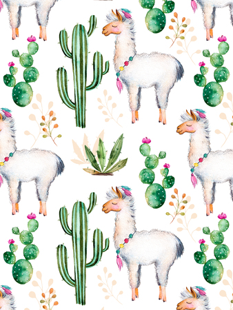 Texture with high quality hand painted watercolor elements for your design with cactus plants, flowers and lama.For your single establishment, wallpaper, background, blogs, pattern, invitations and more