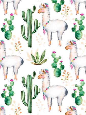 Textuur met een hoge kwaliteit met de hand geschilderd aquarel elementen voor uw ontwerp met cactus planten, bloemen en lama.For uw enige vestiging, behang, achtergrond, blogs, patroon, uitnodigingen en nog veel meer Stockfoto