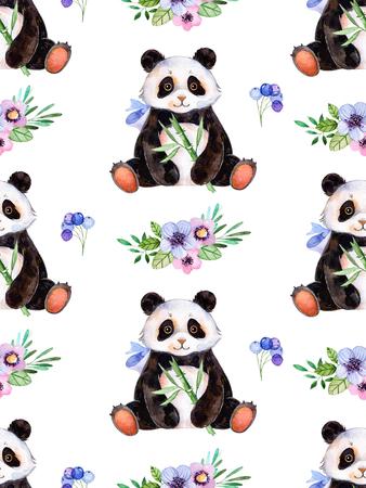 色とりどりの花、果実、葉、かわいいパンダを使用してデザインの手描き水彩要素を持つシームレスなテクスチャです。あなたの単一の作成。誕生 写真素材