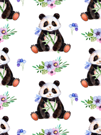 Seamless texture with handpainted watercolor elements for your design with multicolored flowers, berries, leaves and cute Panda .For your single creation.Parfect for birthday card, invitation, wallpaper Фото со стока