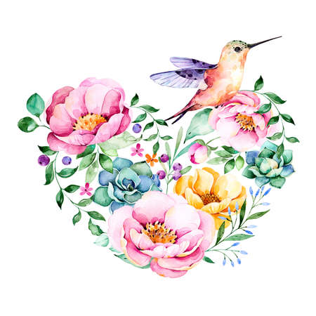 lavander: Beautiful template for card.Perfect Happy Valentines Day.Handpainted illustration.Watercolor heart with roses, flower, foliage, succulent plant, branches, hummingbird.Hand drawn illustration.Lovely Bouquet