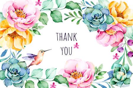 """borde de flores: Acuarela hermosa frontera del marco de """"Gracias"""" con las rosas, flor, follaje, planta suculenta, ramas, hummingbird.Handpainted illustration.Can ser utilizado para la tarjeta de felicitación, invitaciones de boda, letras, etc."""