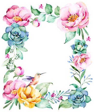borde de flores: frontera hermoso marco de la acuarela con el espacio para el texto con rosas, flor, follaje, planta suculenta, ramas, hummingbird.Handpainted illustration.Can ser utilizado para la tarjeta de felicitación, invitaciones de boda, las letras