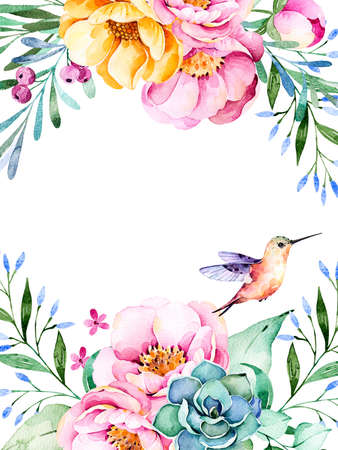 lavander: Beautiful watercolor card with space for text with roses, flowers, foliage, succulent plant, branches, hummingbird.Handpainted illustration.Can be used as a greeting card, wedding invitation, lettering etc. Stock Photo