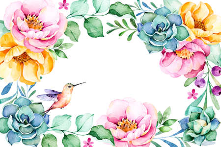 hummingbird: Beautiful watercolor frame border with roses, flower, foliage, succulent plant, branches, hummingbird.Handpainted illustration.Can be used for greeting card, wedding invitation, lettering etc.