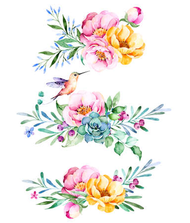 lavander: Colorful floral collection with roses, flowers, leaves, succulent plant, branches, hummingbird and more.3 beautiful bouquet for your own design.Lovely collection.Perfect Bouquet for wedding, invitations etc.