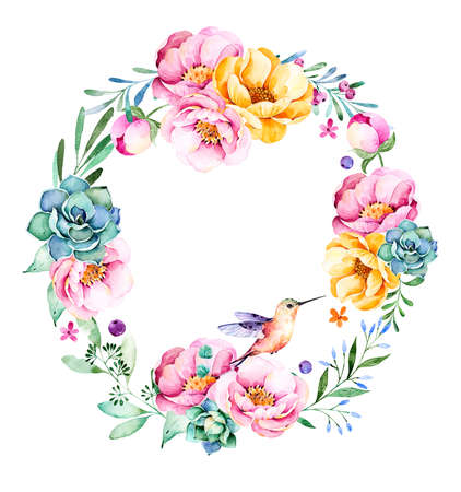lavander: Colorful floral wreath with roses, flowers, leaves, succulent plant, branches, hummingbird and more.Lovely collection.Perfect for wedding bouquet, frame, quotes, pattern, greeting card and more Stock Photo