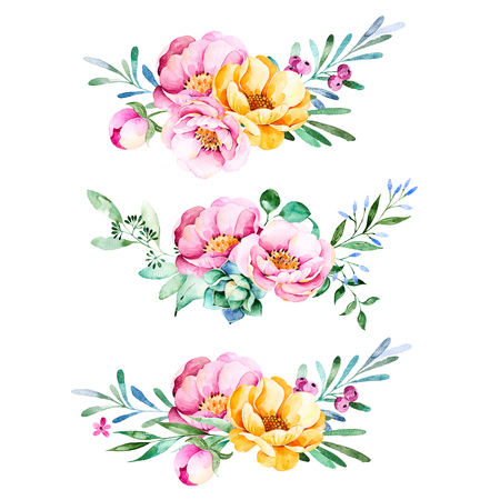 Colorful floral collection with roses, flowers, leaves, succulent plant, branches and more.3 beautiful bouquet for your own design.Lovely collection.Perfect Bouquet for wedding invitations, template cards