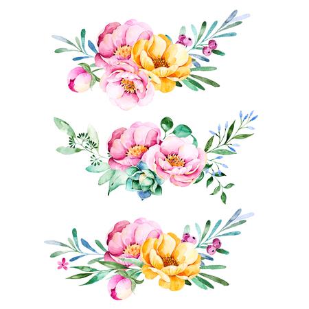 Kleurrijke bloemen collectie met rozen, bloemen, bladeren, vetplant, takken en more.3 mooi boeket voor uw eigen design.Lovely collection.Perfect Boeket voor bruiloft uitnodigingen, sjabloon kaarten