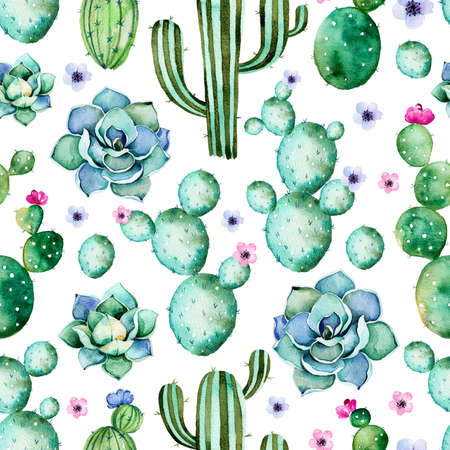 cacti: Seamless pattern with high quality hand painted watercolor cactus plants and purple colors flowers.Pastel, Perfect for your project, wedding, greeting card, photos, blogs, wallpaper, pattern, texture and more Stock Photo