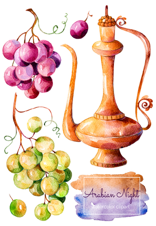 arabian background: Handpainted watercolor collection with gold ewer and bunch of grapes (red and white grapes). High quality hand painted watercolor collection Arabian Night. Clipart isolated on white background.