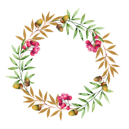 fallen fruit: Colorful autumn wreath with autumn leaves, golden leaves, branch, berries, acorns and place for text.Colorful illustration.Perfect for wedding, frames, quotes, pattern, greeting card, blogs