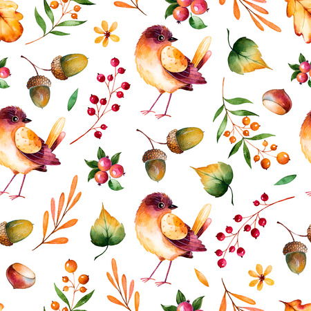 forest trees: Seamless pattern with autumn leaves, flowers, branches, berries, acorns, chestnut and little bird.Colorful illustration.Watercolor handpainted texture on white background.Perfect for wallpaper, blogs, cover Stock Photo