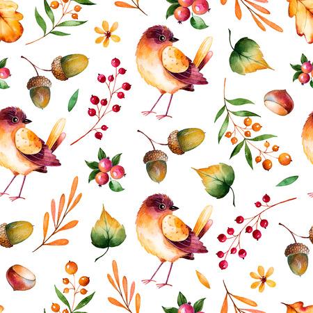 arboles frutales: sin patrón, con hojas de otoño, flores, ramas, bayas, bellotas, castañas y poca textura pintado a mano bird.Colorful illustration.Watercolor en background.Perfect blanco para el papel pintado, los blogs, la cubierta Foto de archivo