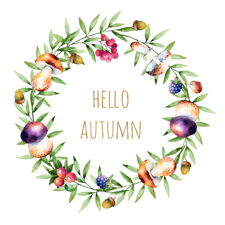 Colorful autumn wreath with autumn leaves, flowers, branch, berries, acorn, mushrooms, blackberries and text Hello Autumn Colorful illustration.Perfect for wedding, frames, quotes, pattern, greeting card, blogs Zdjęcie Seryjne