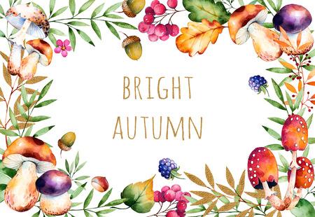 hongo: Tarjeta hermosa de la acuarela con el texto brillante de otoño: el otoño hojas, flores, rama, bayas, bellotas, moras, setas, chestnut.Colorful illustration.Watercolor textura pintado a mano sobre fondo blanco