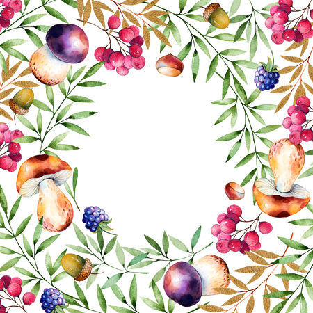 fallen fruit: Beautiful watercolor card with space for text with autumn leaves, flowers, branch, berries, acorns, blackberries, mushrooms, chestnut.Colorful illustration.Watercolor handpainted texture on white background