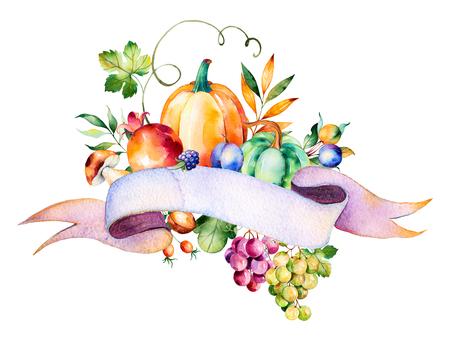 uvas: ramo colorido del otoño con las hojas de otoño, ramas, bayas, moras, setas, calabazas, nueces, uvas de vid, ciruelas, pomegranant, cinta para su texto y more.Autumn ramo de la cosecha para su diseño único.