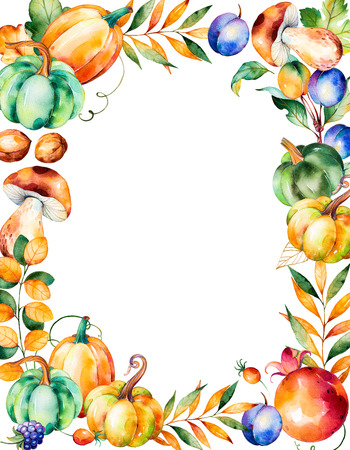 oak wreath: Beautiful watercolor frame border with with fall leaves, branches, berry, blackberry, mushroom, pumpkins, walnut, pomegranate, plums and more.Autumn harvest frame with place for your text.For create your Stock Photo