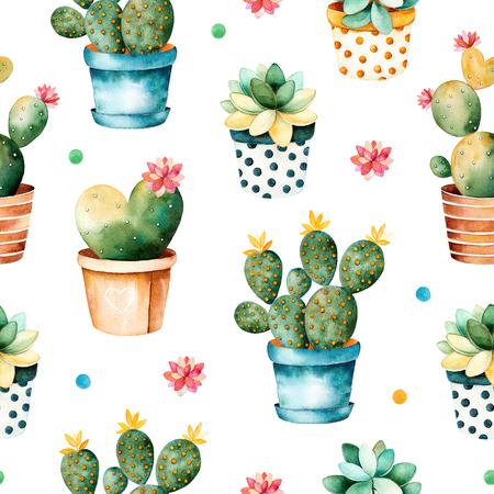 水彩のサボテンの植物と鉢に多肉植物のシームレスなテクスチャです。高品質手でシームレスなテクスチャには、水彩の要素が描かれています。プ 写真素材