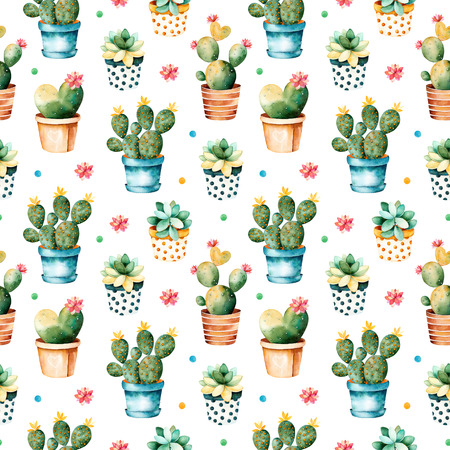 Seamless texture with watercolor cactus plant and succulent plant in pot.Seamless texture with high quality hand painted watercolor elements.Perfect for your project, cover, wallpaper, pattern, gift paper