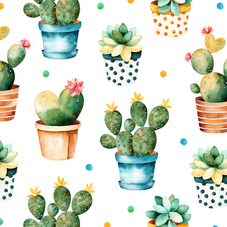 Colorful watercolor texture with cactus and succulent plant plant in pot.Seamless texture with high quality hand painted watercolor elements.Perfect for your project, cover, wallpaper, pattern, gift paper Фото со стока
